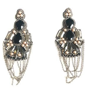 Suzanna Dai Rouen Drop Earrings in Pewter NWT